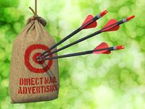 Direct Mail Advertising - Three Arrows Hit in Red Target on a Hanging Sack on Natural Bokeh Background..jpeg