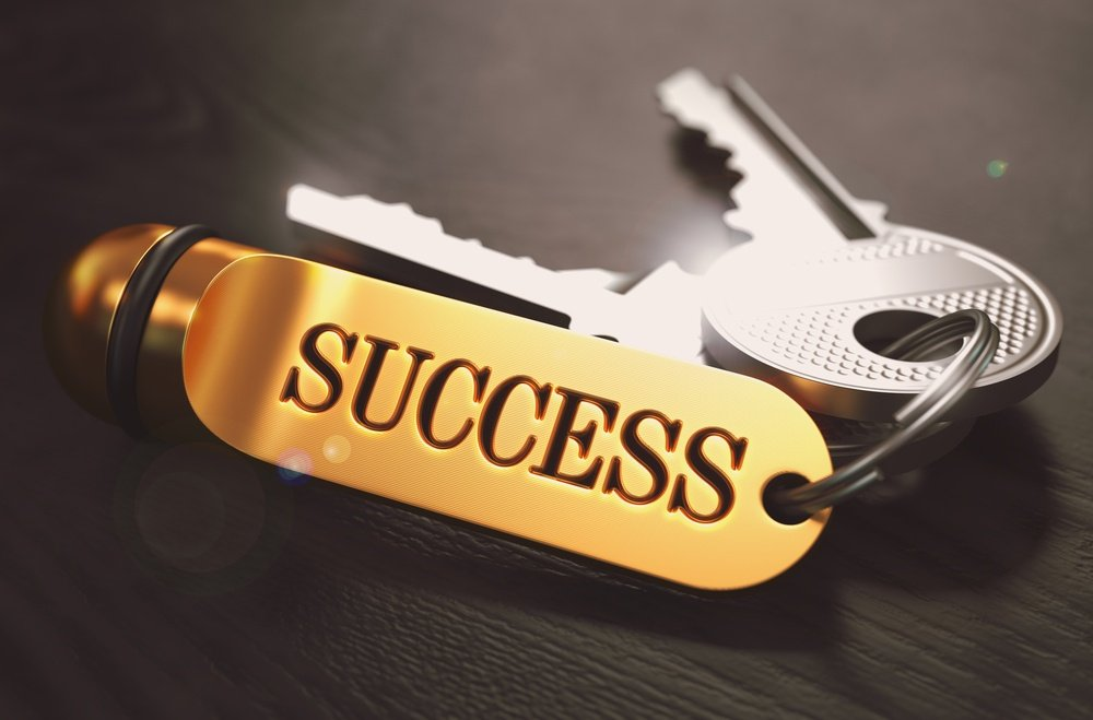Keys to Success - Concept on Golden Keychain over Black Wooden Background. Closeup View, Selective Focus, 3D Render. Toned Image..jpeg