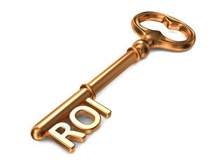 ROI - Golden Key on White Background. 3D Render. Business Concept..jpeg