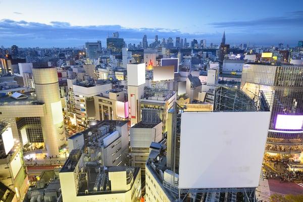 Tokyo, Japan cityscape at Shibuya Ward during at twilight.