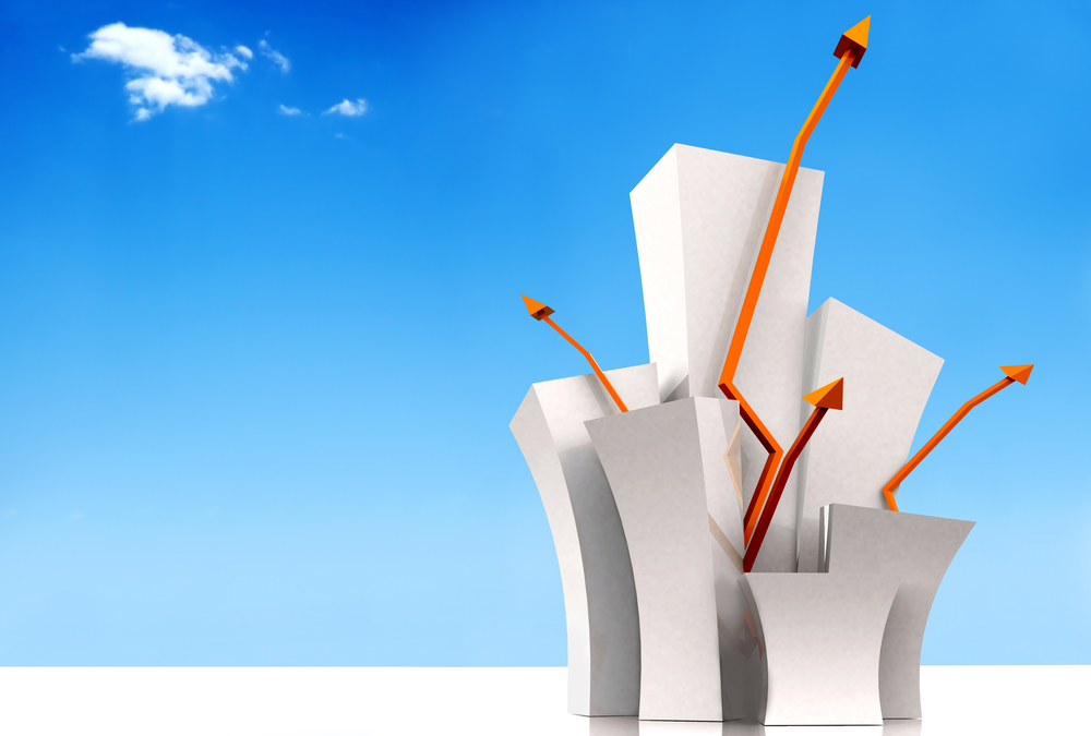 white 3d growth illustration with the sky in the background